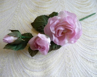 Small Silk Rose and Buds Pink NOS Millinery for Corsage Floral Crowns Hair Pins Crafts Dolls