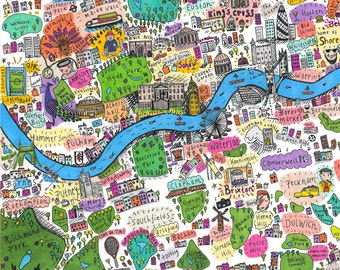 A4 Illustrated map of West and South West London