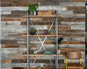 Rustic Bookcase made with reclaimed wood and steel X support.  Free Standing Unit.  Custom designs and sizes welcome.