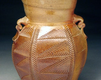 Hexagonal WoodFired Stoneware Vase