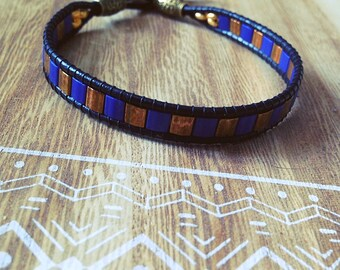 Wrap bracelet, blue, bronze, gift, boho, button Pearl til, tree of life, Bohemian, made with love