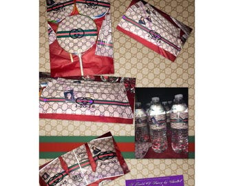 Designer Inspired water bottles, candy bars, lollipops, and chip bags