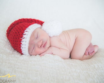 Baby Crochet  Christmas hat, Newborn Christmas hat, photography prop, santa hat,