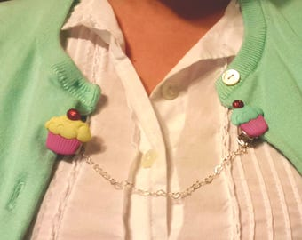 Cupcakes & Cherries Cardigan Sweater Clip with heart Chain
