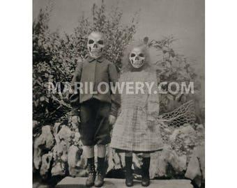 Halloween Decor, Oddities, Creepy Skull Art, 8.5 x 11 Inch Print, Macabre Decor, Halloween Wall Art, Horror, Collage Print, frighten