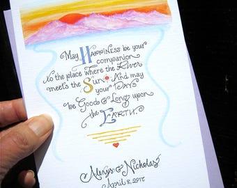 Wedding Card - Card for Bride and Groom - Mountain Wedding Card - Personalized Wedding Card - Congratulations Card - Custom Calligraphy