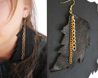 Gold Dusted Leather Feather Earrings - super light weight