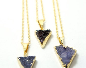 Tiny Triangle Amethyst Necklace - Amethyst Druzy Necklace - Mineral Jewelry - Natural Stone Necklace - Modern Minimalist Jewelry - Bohemian