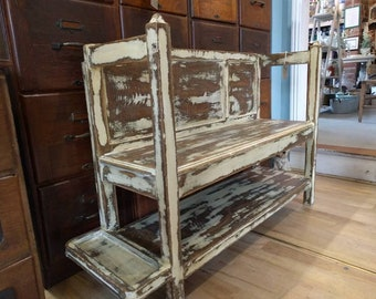 Vintage Hall or garden bench seat with original paint - excellent patina - newly waxed pew settle