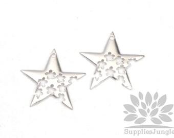 P471-MR// Matt Original Rhodium Plated Star Pendant, 2pcs
