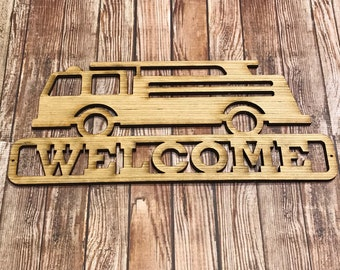 Laser Cut Fire Truck Firefighter Wood Welcome Sign