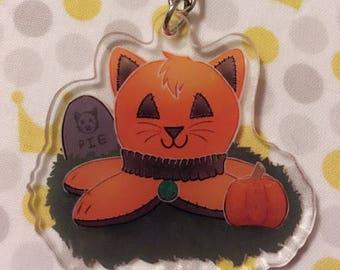 Halloween Jack-O-Lantern Pumpkin Kittypi   2 inch double sided acrylic charm