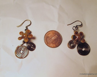 Handmade Lampwork Daisy and Spiral Earrings