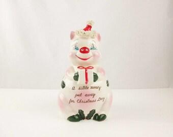 A Pretty Piggy Christmas Bank - Rhinestones, Eyelashes and More - Beautifully Colored Figure - 'Kreiss' Bank - Christmas Savings
