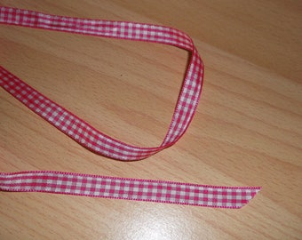 Gingham pink and white 10mm Ribbon