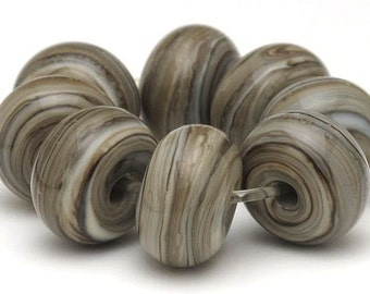 Handmade Lampwork Spacer Beads Organic Fossil SRA