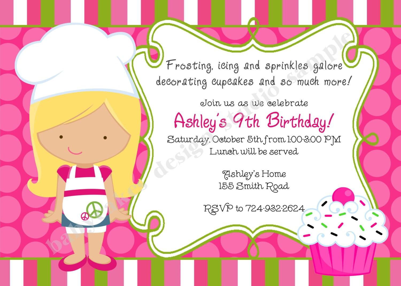 Cupcake Invitation Cupcake Decorating Party Cupcake Birthday
