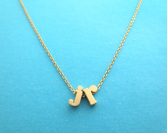 Personalized, 2 lower case, Letters, Initials, Gold, Silver, Necklace, Birthday, Lovers, Friendship, Valentine, Gift, Jewelry