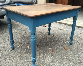 Antique farm tables etsy antique kitchen farm work table blue paint 275d43w23h29h shipping is not free workwithnaturefo