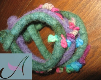 Set of three wet felted bangles/wool/felt/gift for her/spring branches/wonderful colors/ unique/ spring buds/ collectible