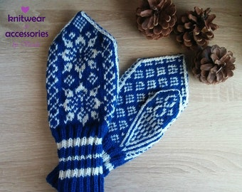Hand Knitted Mittens Wool Mittens Wool Gloves Nordic Mittens Scandinavian Mittens Winter Gloves Patterned Mittens Made to Order