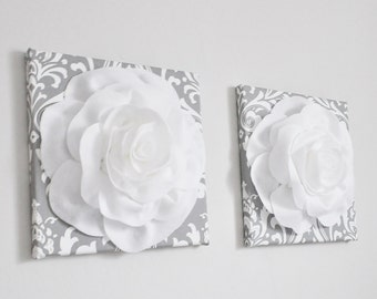 Silver Gray Home Decor Damask Home Decor, Rose Wall Art, Kitchen Decor, Nursery, Bedroom, Bathroom Art, French Country Wall Art, Victorian