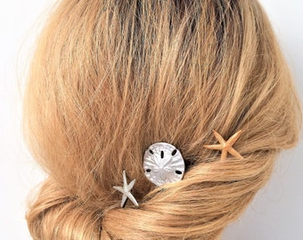 Seashell Bobby pins, Starfish, Sand dollar, Beach hair pick