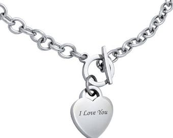 toggle mountain heart tag necklace jewelry silver product