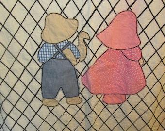 Vintage Sunbonnet Sue Quilt Top Embroidered Quilt Top Child Sized Crib Quilt Suspender Sam Handmade Hand Stitched 1950s 50s