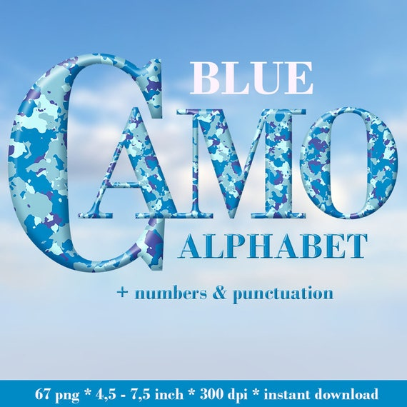 Blue Camouflage Military Alphabet Clipart Camo Letters Army