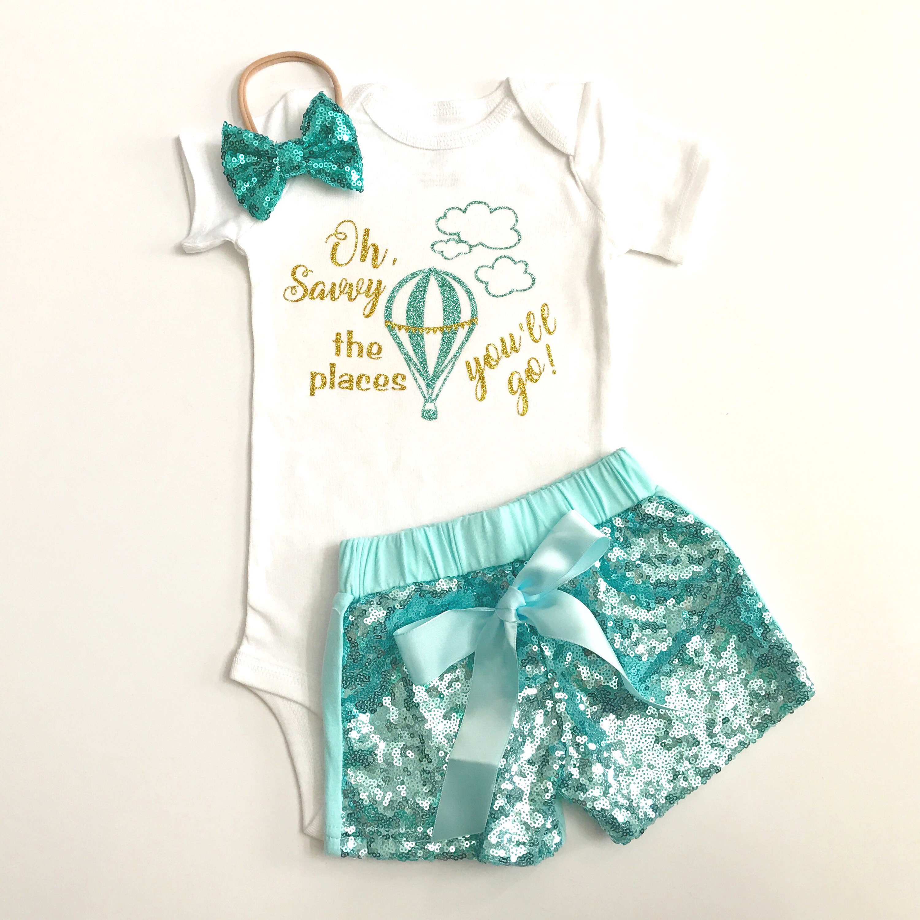Personalized baby outfit Sequin shorts birthday outfit