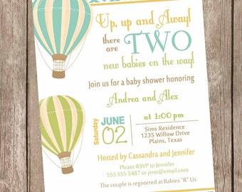 Neutral Baby Shower Invitation Chevon Blue Orange Green