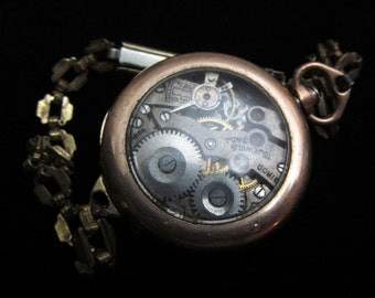 Antique Ladies Vintage Watch Movement and Case on band Steampunk Altered Art Assemblage RA 53
