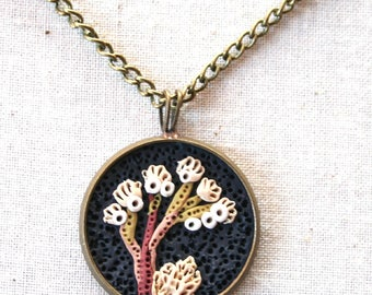 Earth Clay Jewelry - 18'' Pendant Necklace, Miniature Nature Scene Sculpture - Navy Twig