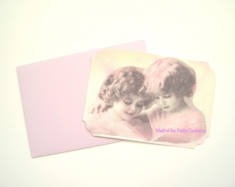 Vintage post card and matching envelope collages and pastel on thick drawing paper.