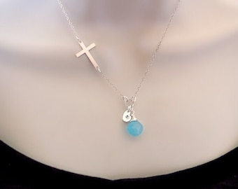 Sideways Cross Necklace,  Birthstone Necklace, Personalized Necklace, Mothers Necklace, Grandmother Necklace, Sister, Mom Gift, silver, gold