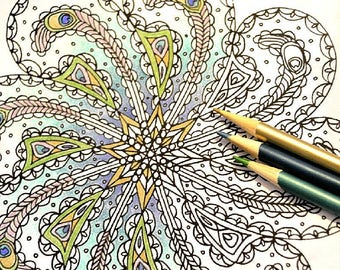 Own Your Beauty - Peacock Feather Paisley Mandala Coloring Page - Instant Digital Download PDF