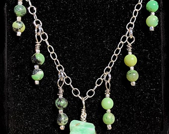 Hand-wrapped Chrysoprase Pendant Necklace