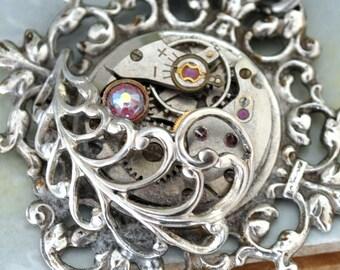 steampunk neckalce,  DOOR To The SECRET GARDEN, antique silver feather necklace with vintage watch movement