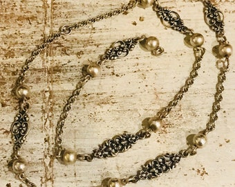 Beautiful Sterling Silver Ornate Chain Vintage Necklace