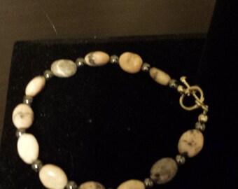"""7 1/2"""" Jasper & Hematite Bracelet"""