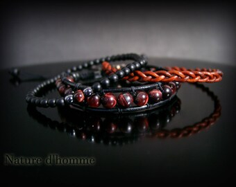 A trio of bracelets natural stones and leather Ref: BN-400