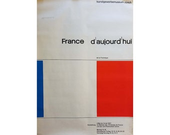 Rare Vintage Art Swiss Museum Poster, French Flag Design, 1960s Mid Century Modern Typography Frameable Wall Art