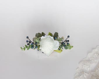 White & Berry Flower Comb. Silk Flower Comb with Eucalyptus. Artificial Flower Hair Piece.