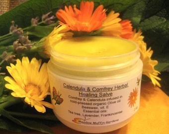 Herbal Salve, Calendula, Comfrey, Healing Balm, Organic, Essential oils