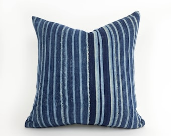 16 X 16 Indigo Stripe Pillow Cover