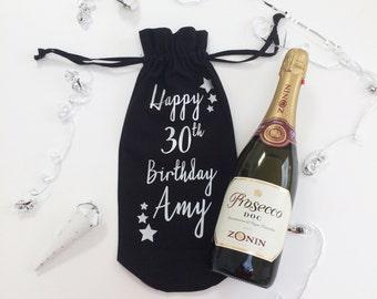 Personalised Birthday Wine Bottle Cotton Gift Bag