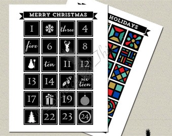 Christmas Printable Advent Calendar Christmas Countdown Poster Art Print Typography Digital Download DT1783
