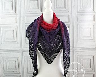 Crochet shawl, Womens wrap, Triangle scarf, Boho scarf, Purple shoulder wrap, Erigeneia shawl, Oversize shawl, Gift for her, Mothers day