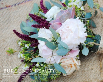 Burgundy Wedding Flowers, Peony Bouquet, Succulent Bouquet, Blush Peonies